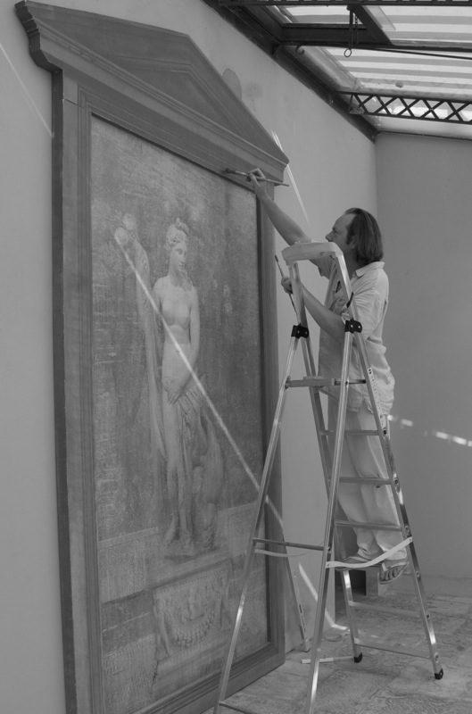 Installing murals at Palazzo Terranova, Italy