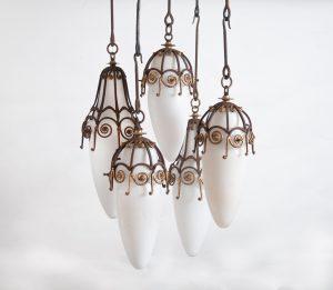 Edgar Brandt hanging pendant lights
