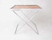 1970's Italian burr wood and chrome tray table-6