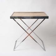 1970's Italian burr wood and chrome tray table-7