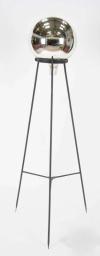 19thC Mercury glass Gazing globe on wrought iron stand - B