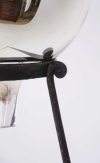 19thC Mercury glass Gazing globe on wrought iron stand - 0