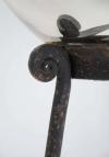 19thC Mercury glass Gazing globe on wrought iron stand - 6