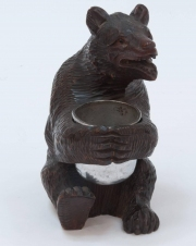 Black Forest Carved Wooden Bear Holding a Silver Plated Cup4