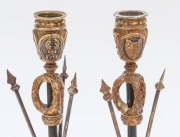 Pair of Military Inspired Cast Bronze Candlesticks3