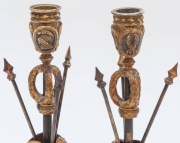 Pair of Military Inspired Cast Bronze Candlesticks4