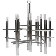 Gaetano Sciolari modernist nine light Chrome and Lucite Chandelier