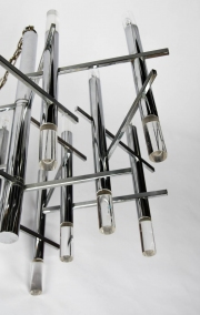 Gaetano Sciolari modernist nine light Chrome and Lucite Chandelier4