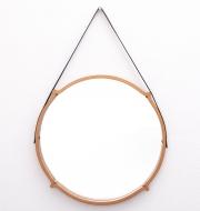 large-circular-teak-Italian-mirror-with-leather-strap-hanger1