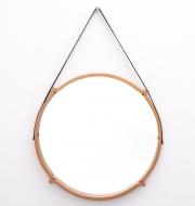 large-circular-teak-Italian-mirror-with-leather-strap-hanger2