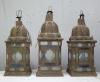matched set of 3 large Moroccan hanging storm lanterns - 01