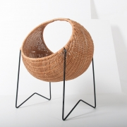 metal & wicker baby basket -1