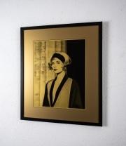 Linda-Evangelista-on-Gold-paper-framed-frame-54cm-wide-x-64cm-high-image-34cm-wide-x-43.5cm-high1
