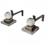 Pair of art deco steel Chenets attributed to Jacques Adnet