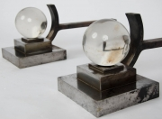 Pair of art deco steel Chenets attributed to Jacques Adnet2