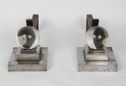Pair of art deco steel Chenets attributed to Jacques Adnet4