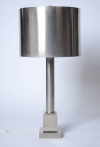 Pair of brushed steel Maison Charles lamps-1