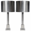 Pair of brushed steel Maison Charles lamps-7