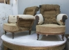 Pair of Howard style club armchairs for restoration - 20