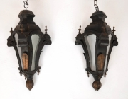 Pair of Venetian toleware hanging lanterns -
