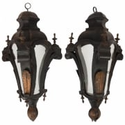 Pair of Venetian toleware hanging lanterns -1