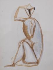 Sitting-monkey-gouache-by-Henri-SAMOUILOV1