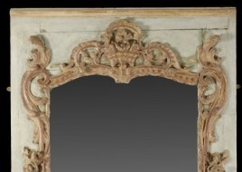 French carved wood painted and parcel gilt mirrored panel - Sold