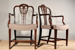 Pair of Hepplewhite style Mahogany Carvers - Sold