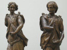 Pair of 18thC carved wood figures - Sold