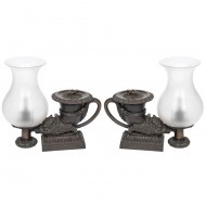 A pair of Regency bronze colza-oil rhyton lamps - Sold
