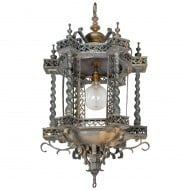Unusual pagoda style bronze hanging lantern - Sold