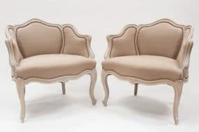 Pair of Louis XV style low chairs - Sold