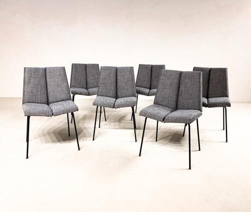 """set of six Pierre Guariche """"Quatre faces"""" chairs"""