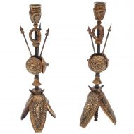 Pair of Military Inspired Cast Bronze Candlesticks - Sold