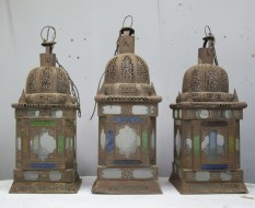 matched set of 3 large Moroccan hanging storm lanterns - Sold